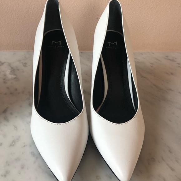 Marc Fisher Ivory White Leather Heeled Twist